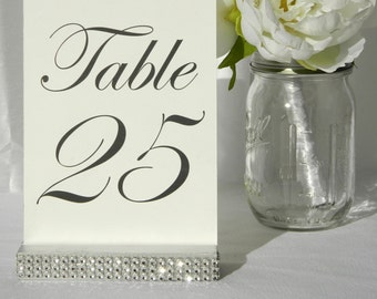 Table Number Holder + Silver  Wedding Card Holder +Silver Rhinestone Table Card Holder (Set of 10)