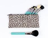 "9"" Makeup Brush Bag, Pencil Case, Leopard print brown and cream"