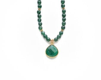 Emerald and Gold Necklace, Gemstone Necklace, Gemstone Pendant Necklace, Beaded Necklace