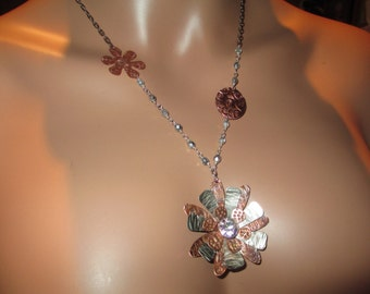 Hand Forged, Copper Nickel Silver, Mixed Metal, Stamped Jewelry, Metalwork, Flower Pendant Necklace