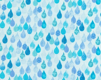 Row by Row Cotton Fabric Timeless Treasures 1 Yard Aqua Raindrops