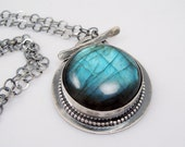 Blue-green Labradorite and Sterling Silver Pendant Necklace, Gemstone Toggle Pendant, Hallmarked