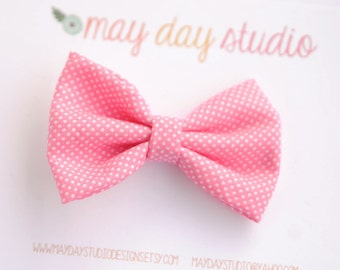 girls/toddler fabric boutique bow hair clip, pink and white tiny dot alligator clip hair bow