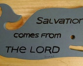 Jonah's Whale - Hand Painted Christian/Inspirational Wall Hanging Upcycled Bread Board