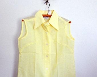 sleeveless 60s shirt / collared top / yellow shirt / dead stock