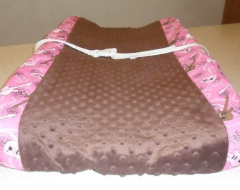 Hot Pink Guitars and Brown Minky Dot Changing Pad Cover LAST ONE