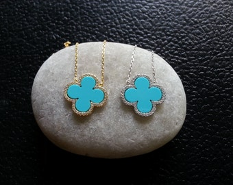 SALE, Turquoise Clover Necklace, Clover Necklace, Clover Jewelry,Turquoise Necklace, Turquoise Jewelry