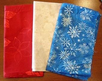 Christmas Fabric Destash – Christmas Mix III – 3 Pieces, 1 1/2 Yards, 100% Cotton, Patriotic Christmas