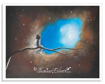 fairy art, fairy prints, fae, faery art prints, wall art, wall art prints, art print, mystical prints, original art, giclee, up in tree, art