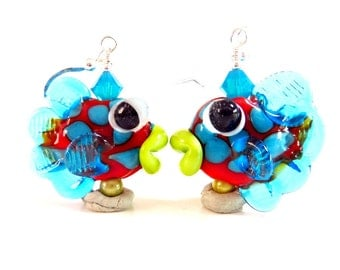Blue Fish Earrings, Fun Colorful Fish Earrings, Summer Earrings, Beach Drop Dangle, Handmade Lampwork
