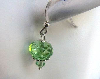 Peridot Earrings, Crystal Earrings, Green Crystals,  Green Earrings, Beaded,  Dangle Earrings, Sterling Silver  .925 Ear Wires Item#1138