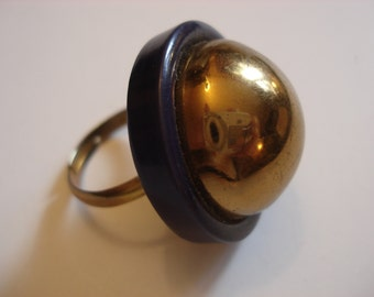 Stacked Button Ring - Vintage Buttons - Big Brass Dome Button & Deep Purple Button - Adjustable