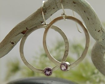 Amethyst Hoop Earrings Sterling Silver Hoops Purple Gemstone Earrings February Birthstone