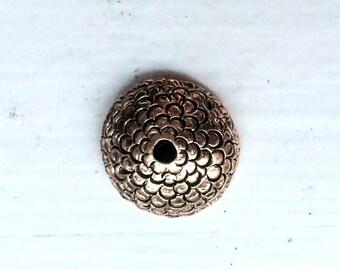 2 Acorn Bead caps 12.5x5mm in Antiqued Gold, fits 10-12mm bead.