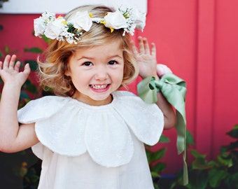 White Cotton Flower Girl Dress, Special Occasion Girls Dress, Vintage Inspired, Petal Trim