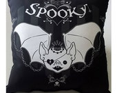 Spooky Cute Bat Design Large Throw Pillow Soft Black Dot Pocket Full of Posiez