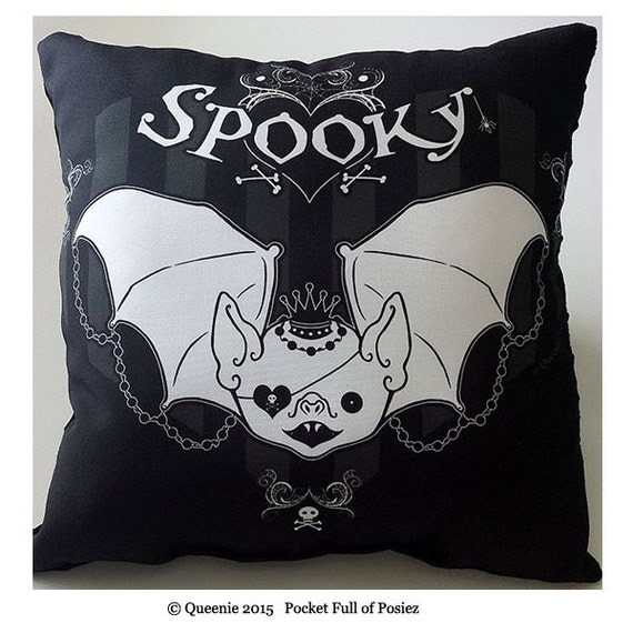 Big Soft Throw Pillows : Spooky Cute Bat Design Large Throw Pillow Soft Black Dot