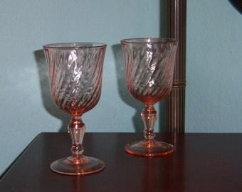 2  Pink Swirl Arcoroc Wine Goblets Vintage Barware