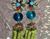 Lilygrace Blue and Green Flower Tassel Beaded Earrings