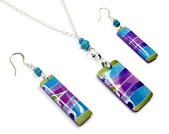 Gift Set- Rainbow Necklace & Earring Set- polymer clay jewelry- Chain Necklace- Holiday Jewelry