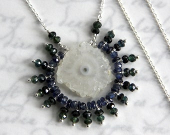 Solar Quartz Necklace with Blue Sapphires and Tourmaline in Sterling Silver
