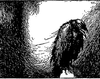 Crow or Raven Vignette Rubber Stamp - Edgar Allan Poe - Halloween (G2180)