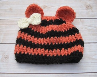 Baby Girl Hat, Baby Hat, Newborn Girl Hat, Newborn Hat, Girl Photo Prop, Baby Coming Home Hat, Baby Halloween Hat, Baby Tiger Hat, Beanie