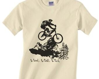 Mountain Biking - Bicycle - Bike - Riding - T-shirt Water Based Ink - Small Only