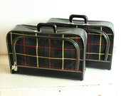 vintage plaid suitcases- tartan - LIKE NEW - plaid luggage - soft side suitcase - locking with key - set of 2 - green black red yellow