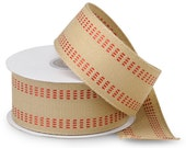 """Twill Ribbon with Red Stitching - Old Fashion Upholstery Webbing Style - 1-1/2"""" x 10 YRDS"""