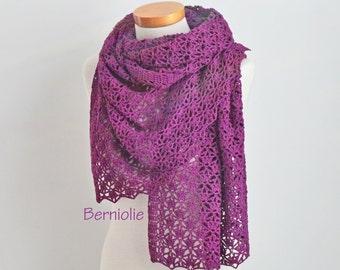 Lace crochet shawl, Violet, Purple, Cotton,  N361