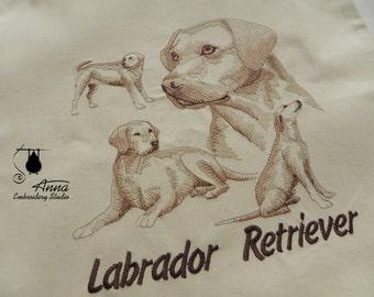 Labrador Tote Bag. Dog Embroidered bag. Christmas gift. Canvas Tote Bag. Shopper bag. Eco Bag. Beach Bag. Tote Bag