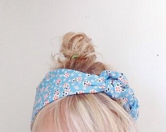 TieOn Headscarf - Headband - Vintage Blue Floral - Headwrap - Accessories - Wrap - Scarf