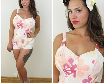 60s Hawaiian Pink Floral One Piece Swimsuit, Playsuit, Size XS to Small  As-Is