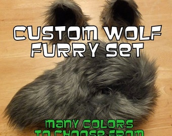 Wolf Ears and Tail -  Wolf Costume - Wolf Ears and Wolf Tail-Anime, Fantasy, Cosplay. Burning Man, Halloween