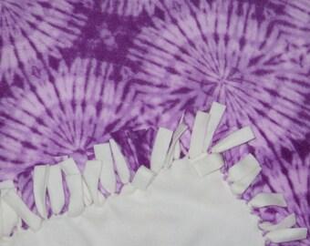 fleece blankets - tied fleece blankets - purple tie-dye