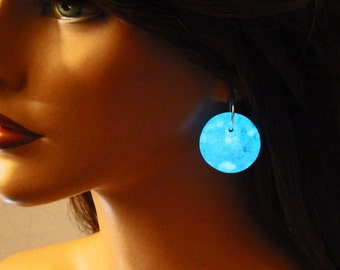 Jade and white dichroic glass, glow in the dark earrings, halloween, gift