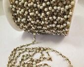 Gemstone Chain, White Howlite Chain, 4mm Smooth White Howlite Brass Chain, Rosary Chain, Length 1 Foot, ch100