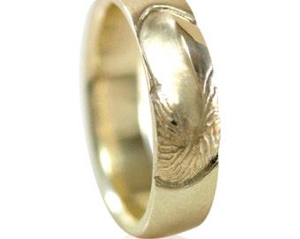 Nautilus Mens Yellow Gold Wedding Band in 10k Gold, 14k Gold, 18k Gold, or Palladium, Recycled Gold Ring, Simple Wedding Ring