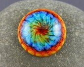 "Rainbow cabochon, lampwork cabochon, art glass rainbow, art glass cabochon, ""Rainbow Burst"", 21mm/0.8 inches across, GBUK, SRA, pride"