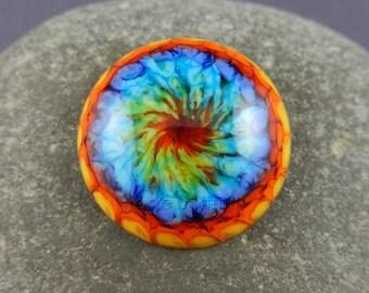 "Rainbow cabochon, lampwork cabochon, art glass rainbow, art glass cabochon, ""Rainbow Burst"", 21mm/0.8 inches across, GBUK, SRA, pride"