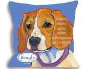 Beagle dog pillow, beagle home decor, customize with your dog's name, 18x18 blue pink