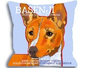 Basenji No. 1 - dog art pillow, dog breed art 18x18 custom option add your dog's name from ursula dodge original oil pet portrait home decor