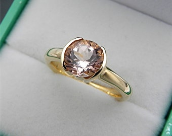 AAAA  Peach Morganite  7.0mm Round 1.28 Carats  Heavy bezel set 14K Yellow gold Stack-able Engagement ring. 2105(2) MMM