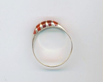 Sterling Silver Ring Band . Vintage Inlaid Jewelry. Red Stripe Ring Size 8. Silver Marked 925- July Birthstone Ring by enchantedbeas on Etsy