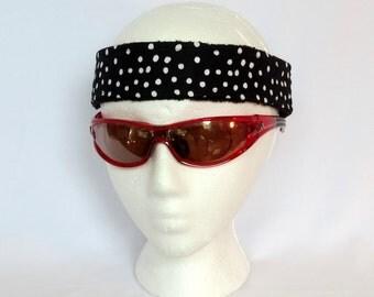 Adjustable Sweatband / Headband - Black and White Dots