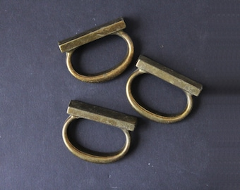 Unique Brass Stirrup Drawer Handle Pulls Hardware (Set of 9)