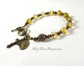 Miraculous Medal Rosary Bracelet Bohemian Champagne Glass St Benedict Holy Spirit Baroque Style Chaplet Prayer Beads
