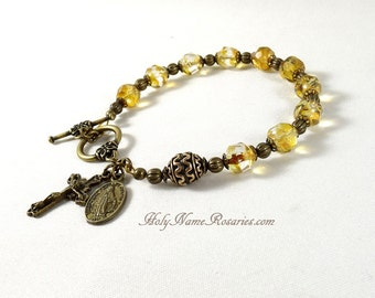 Miraculous Medal Rosary Bracelet Bohemian Champagne Glass St Benedict Holy Spirit Baroque Style Chaplet Prayer Beads