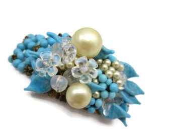 Madeleine Riviere Jewelry - Beaded Bracelet, Louis Rousselet Beads, French Designer Costume Jewelry